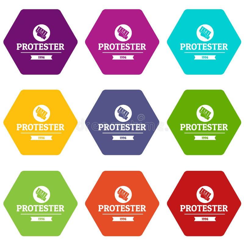 Le icone dell'opuscolo del dimostrante hanno messo 9 illustrazione vettoriale