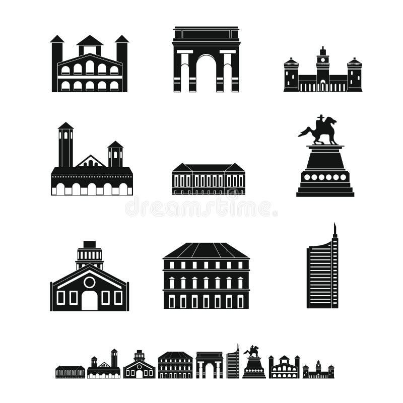 Le icone dell'orizzonte della città di Milan Italy hanno messo, stile semplice royalty illustrazione gratis