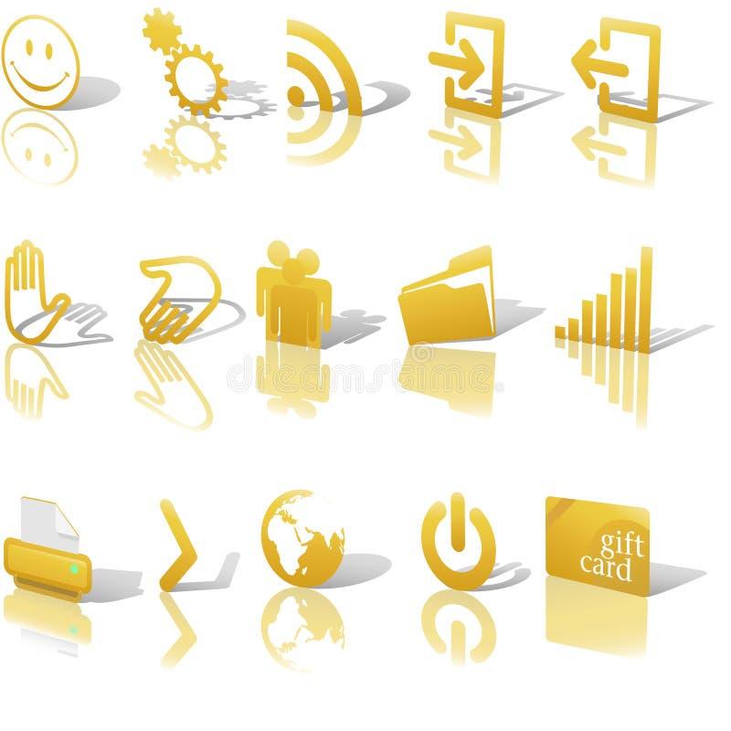 Le icone dell'oro di Web si sono inclinate su bianco hanno impostato 2 illustrazione di stock