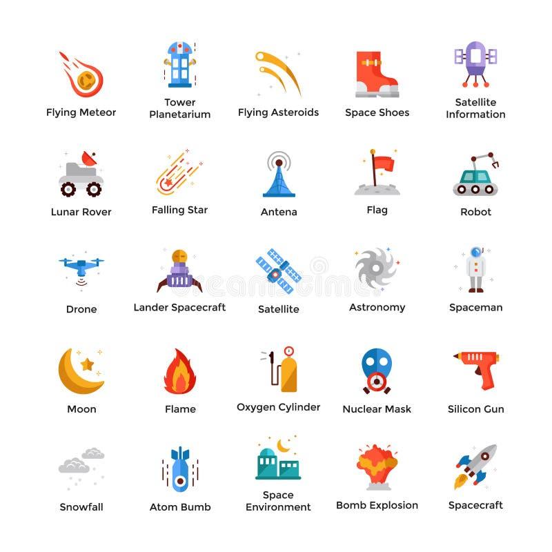 Le icone dell'universo e dello spazio impacchettano royalty illustrazione gratis