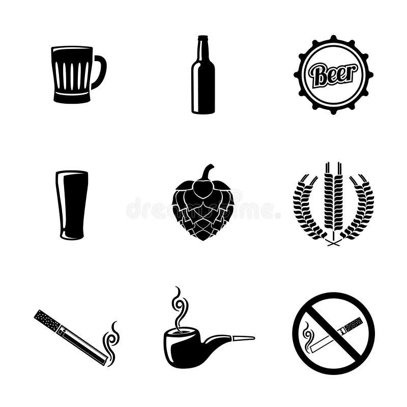 Le icone della birra e del pub hanno messo con - vetro, la tazza, bottiglia royalty illustrazione gratis