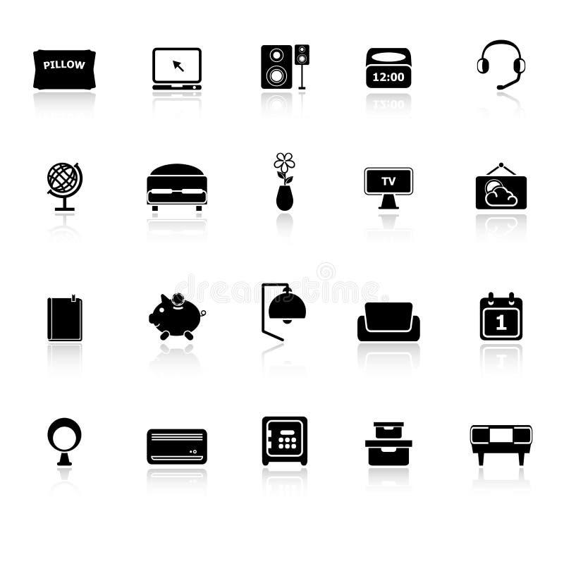 Le icone della camera da letto con riflettono su fondo - Musica da camera da letto ...