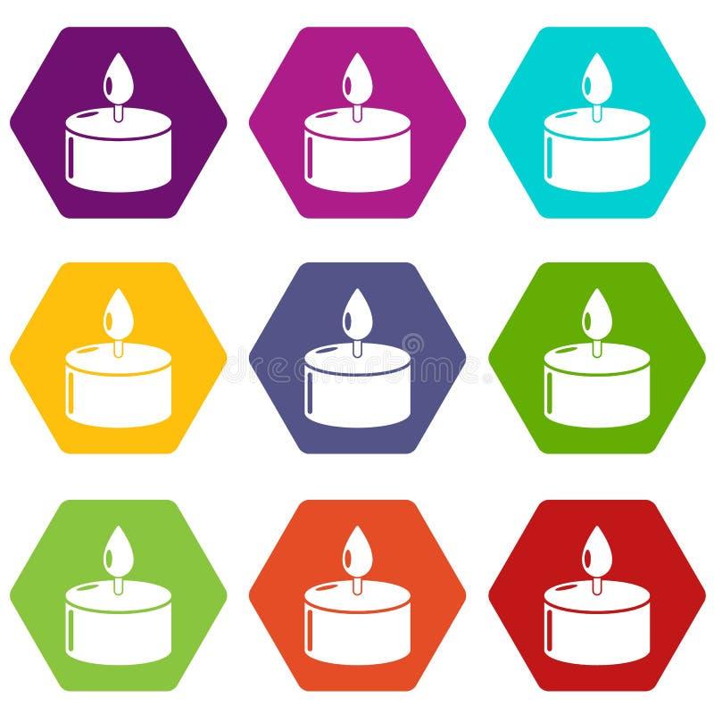 Le icone della candela hanno messo 9 illustrazione di stock