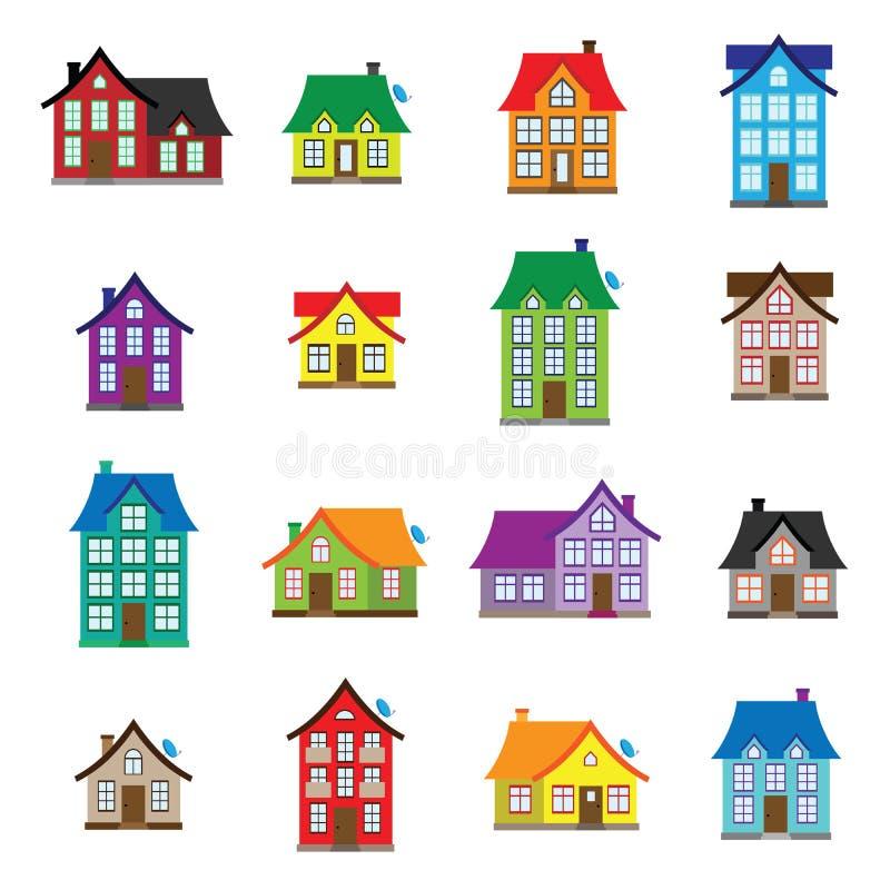 Le icone della casa di vettore hanno messo, progettazione piana della raccolta domestica colourful dell'icona illustrazione vettoriale