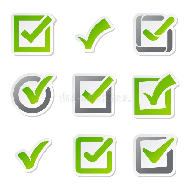 Le icone della casella di controllo del segno di voto firmano il simbolo di scelta sì e correggono la domanda di voto del bottone illustrazione di stock