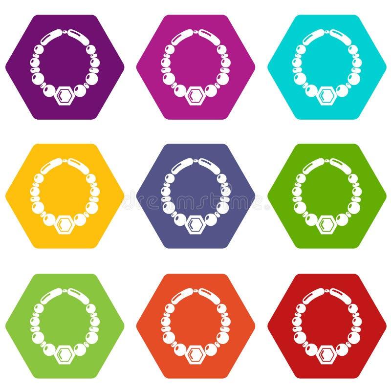 Le icone della collana della perla hanno fissato il vettore 9 royalty illustrazione gratis