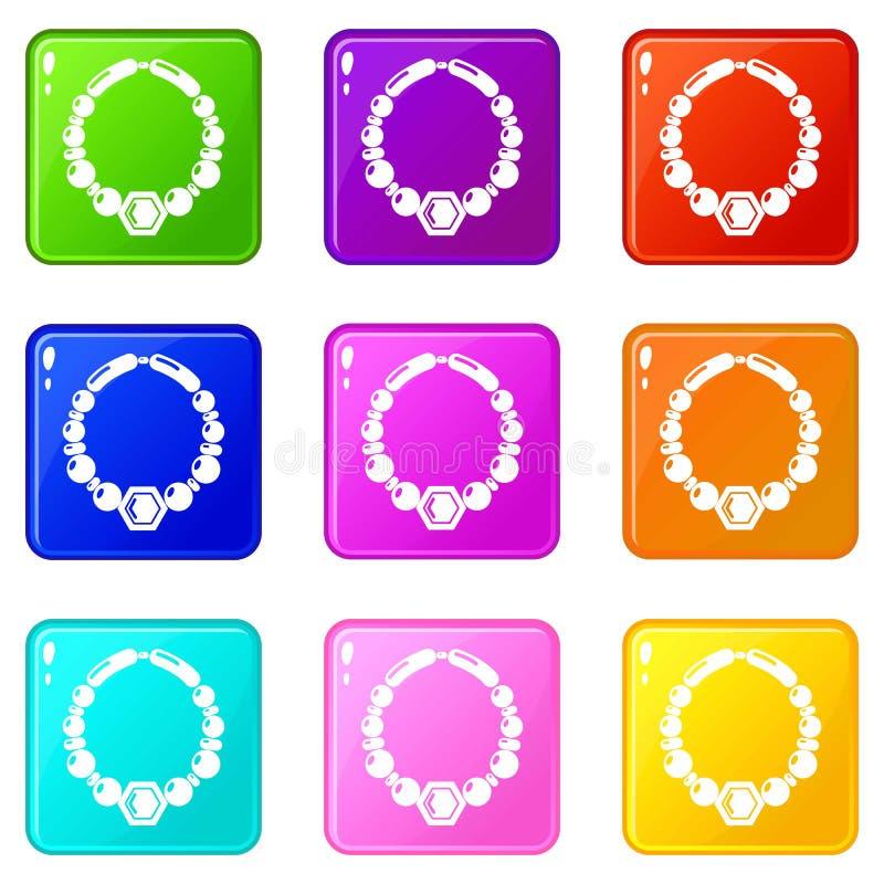 Le icone della collana della perla hanno messo una raccolta di 9 colori royalty illustrazione gratis