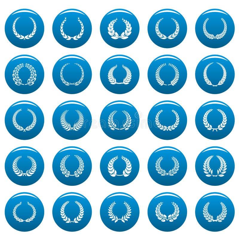 Le icone della corona dell'alloro hanno messo il vetor blu illustrazione di stock