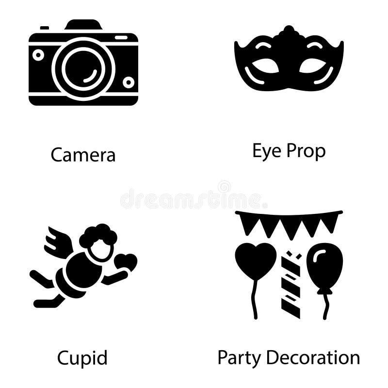 Le icone della decorazione del partito imballano illustrazione vettoriale