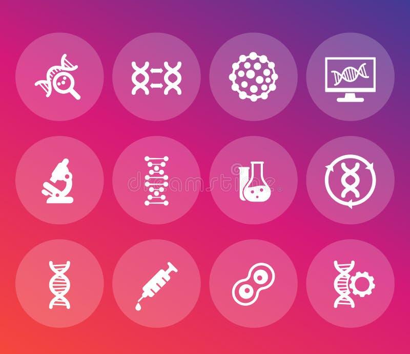 Le icone della genetica hanno messo, DNA, modifica genetica royalty illustrazione gratis