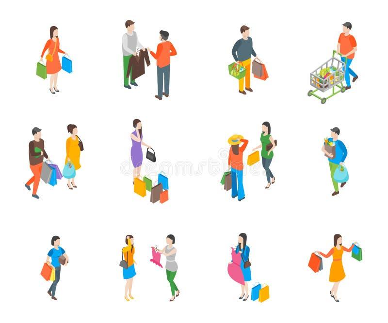 Le icone della gente 3d di acquisto hanno fissato la vista isometrica Vettore illustrazione di stock