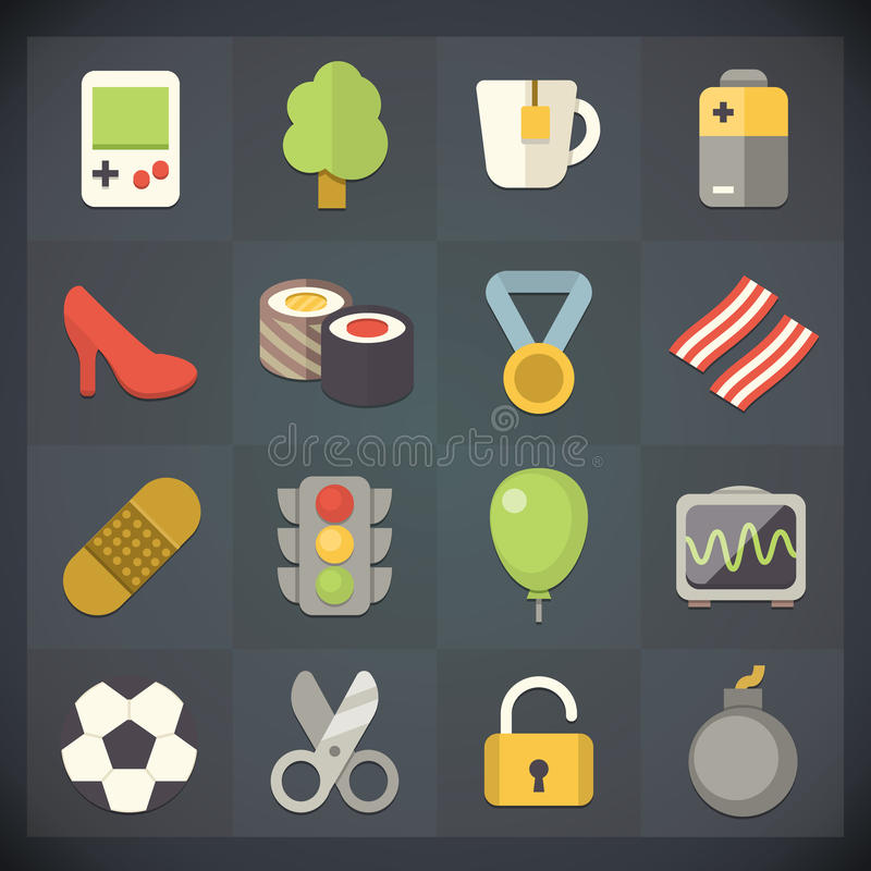 Le icone della lamina piatta universale per il web ed il cellulare hanno messo 12 illustrazione vettoriale