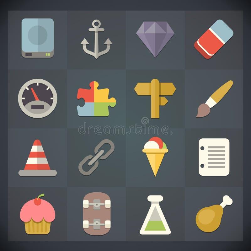 Le icone della lamina piatta universale per il web ed il cellulare hanno messo 11 illustrazione di stock