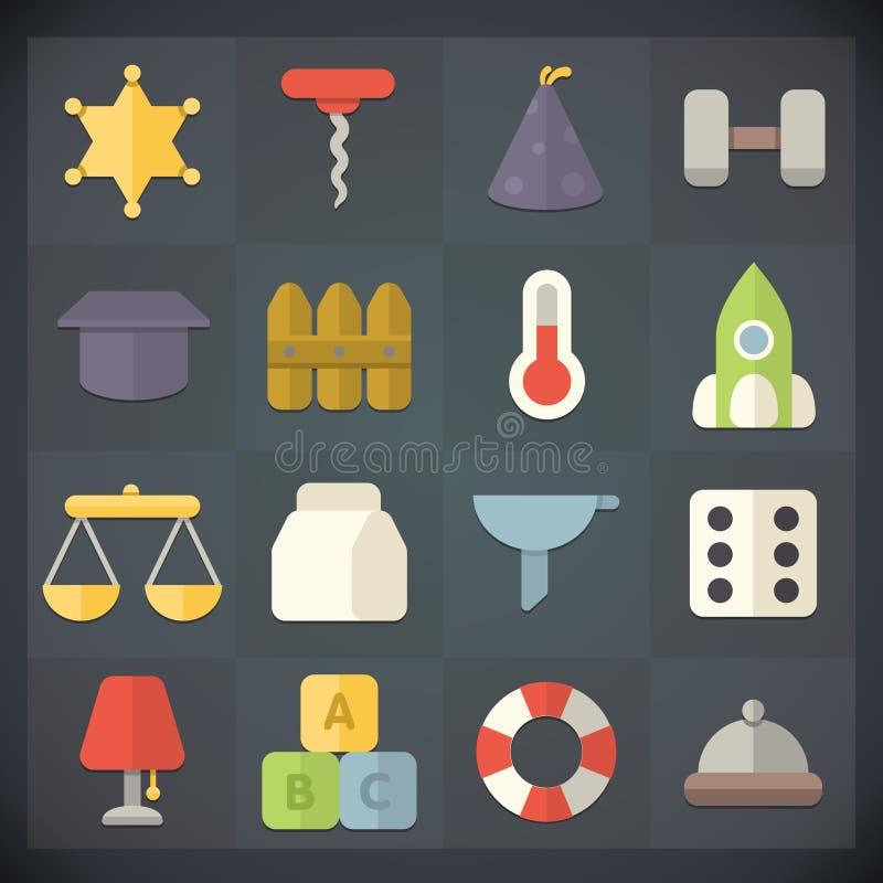 Le icone della lamina piatta universale per il web ed il cellulare hanno messo 14 royalty illustrazione gratis