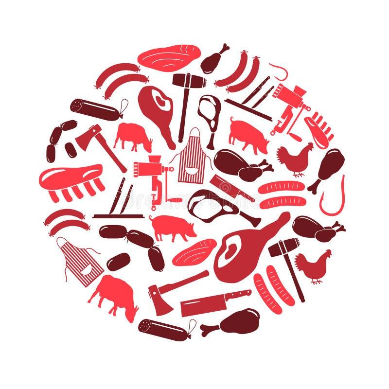 Le icone della macelleria e del macellaio hanno messo nel cerchio illustrazione vettoriale