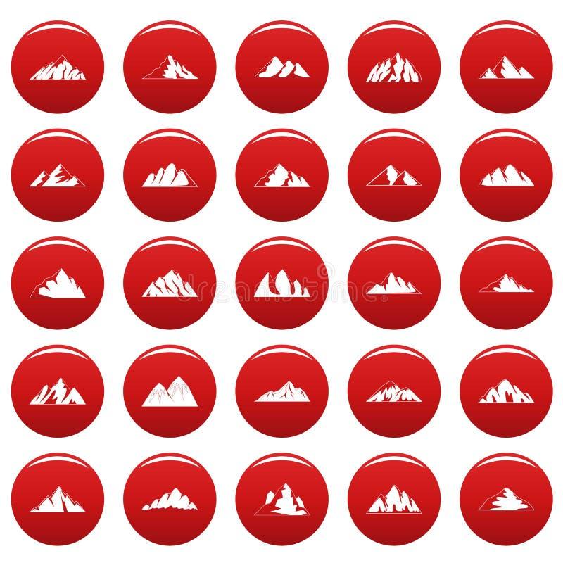 Le icone della montagna hanno messo il vetor rosso royalty illustrazione gratis