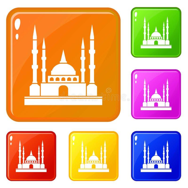 Le icone della moschea hanno fissato il colore di vettore illustrazione vettoriale