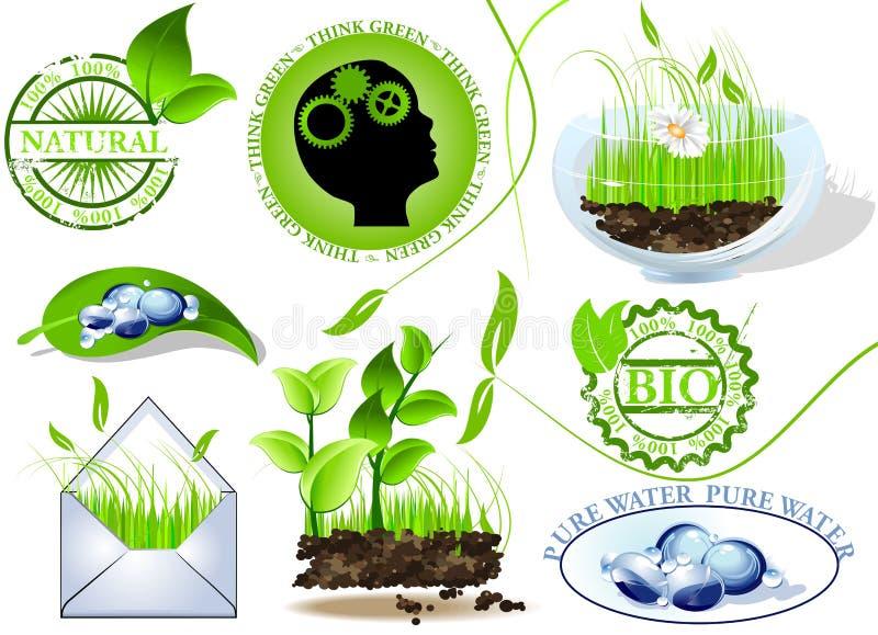 Le icone della natura hanno impostato, eco e bio- messaggio royalty illustrazione gratis