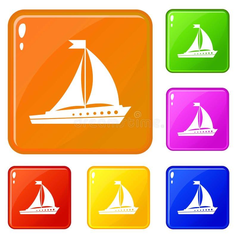 Le icone della nave di navigazione hanno fissato il colore di vettore royalty illustrazione gratis