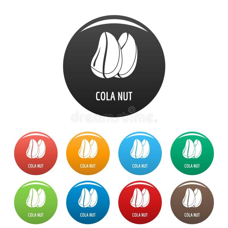Le icone della noce di cola hanno fissato il colore illustrazione vettoriale