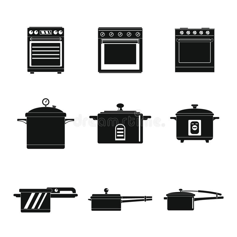 Le icone della pentola della stufa del forno del fornello hanno fissato lo stile semplice illustrazione di stock