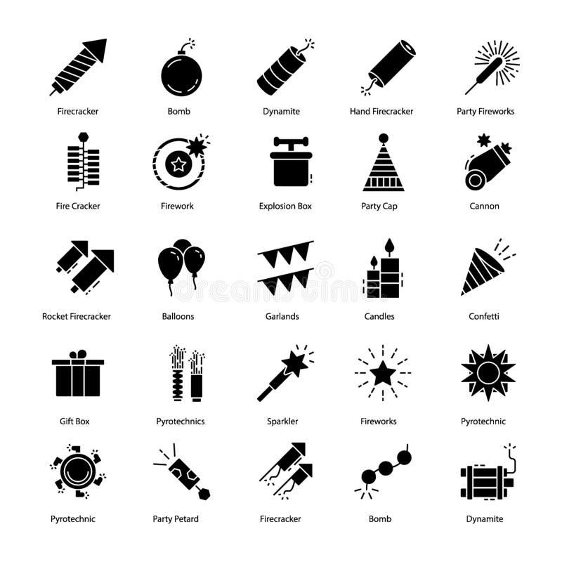 Le icone della pirotecnica imballano royalty illustrazione gratis