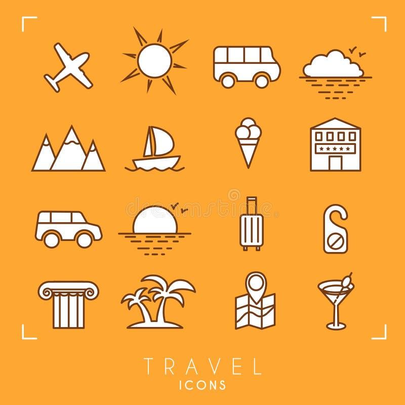 le icone della spiaggia hanno fissato la vacanza di corsa royalty illustrazione gratis