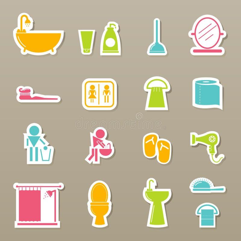 le icone della stanza da bagno hanno impostato royalty illustrazione gratis