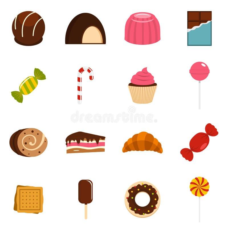 Le icone delle caramelle e dei dolci hanno messo nello stile piano illustrazione vettoriale