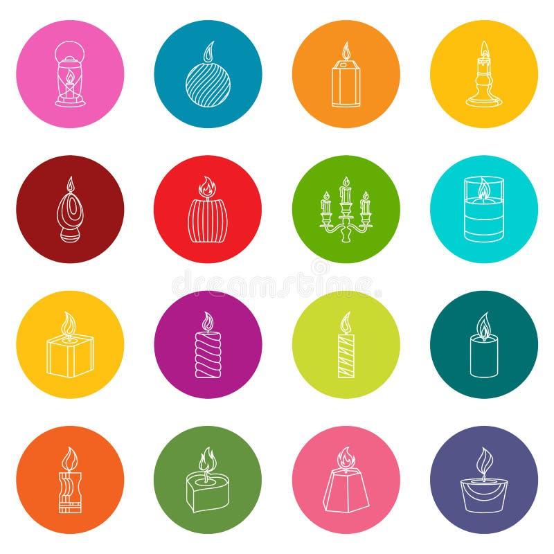 Le icone delle forme della candela hanno fissato il vettore variopinto dei cerchi illustrazione di stock