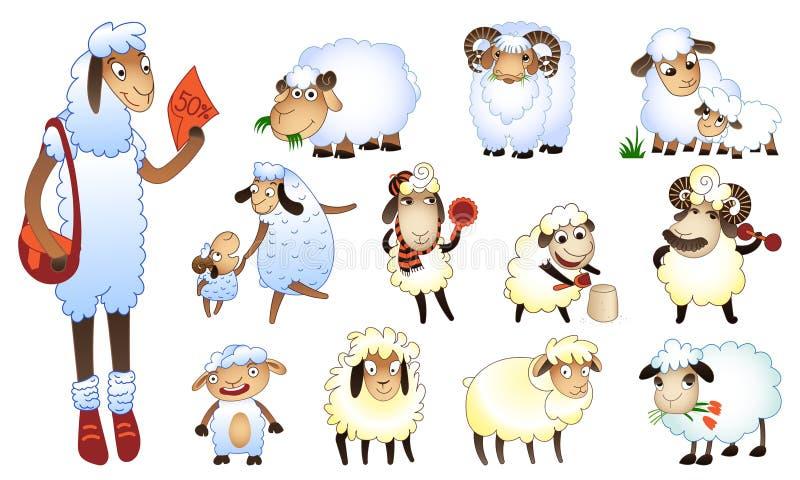 Le icone delle pecore hanno messo, stile del fumetto illustrazione di stock
