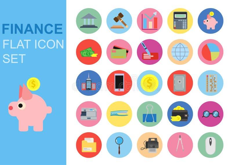 Le icone di affari della lamina piatta universale di finanza hanno fissato la progettazione dell'illustrazione di vettore Applica royalty illustrazione gratis