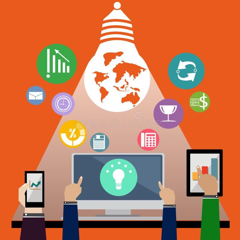 Le icone di affari di vettore con la mano toccano la compressa ed il computer del telefono immagine stock libera da diritti