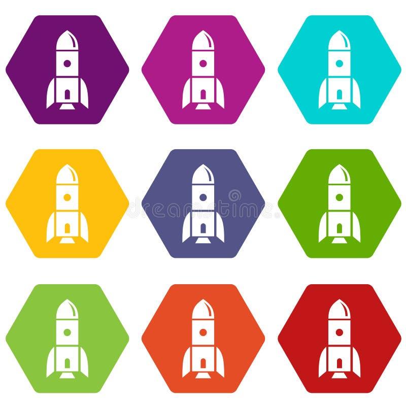 Le icone di astronomia di Rocket hanno messo 9 royalty illustrazione gratis
