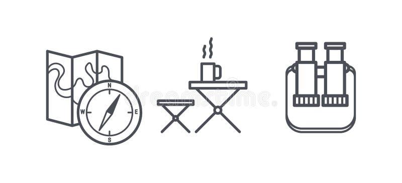 Le icone di attività all'aperto e di campeggio, la ricreazione e fare un'escursione i simboli del profilo, pittogrammi lineari ve illustrazione vettoriale