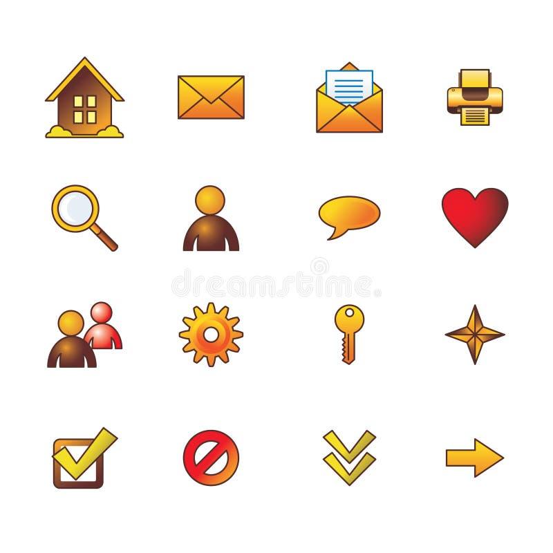 Le icone di base di Web di autunno hanno impostato illustrazione vettoriale