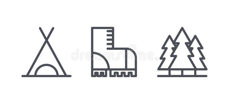 Le icone di campeggio, l'attività all'aperto della ricreazione e fare un'escursione i simboli del profilo, pittogrammi lineari ve illustrazione di stock
