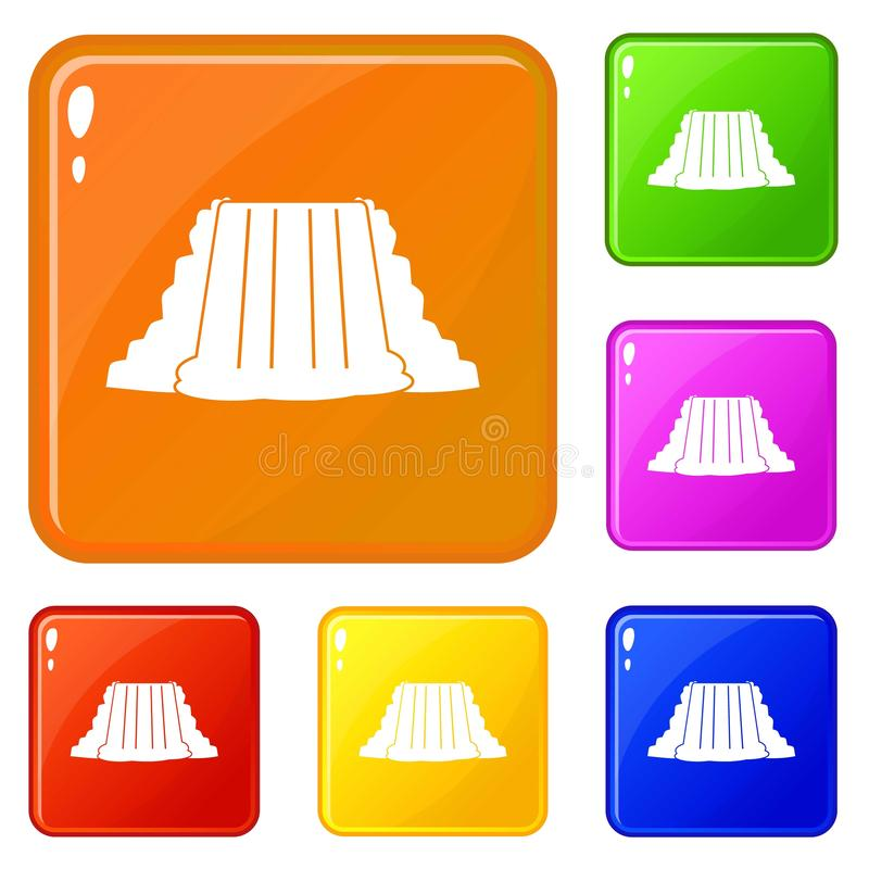 Le icone di cascate del Niagara hanno fissato il colore di vettore royalty illustrazione gratis