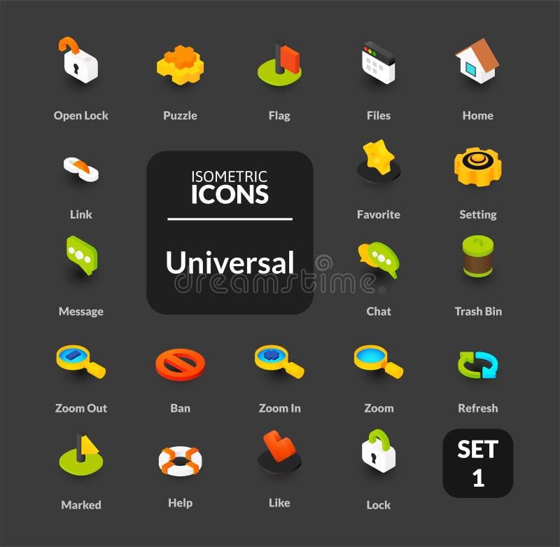 Le icone di colore hanno messo nello stile isometrico piano dell'illustrazione, raccolta di vettore royalty illustrazione gratis