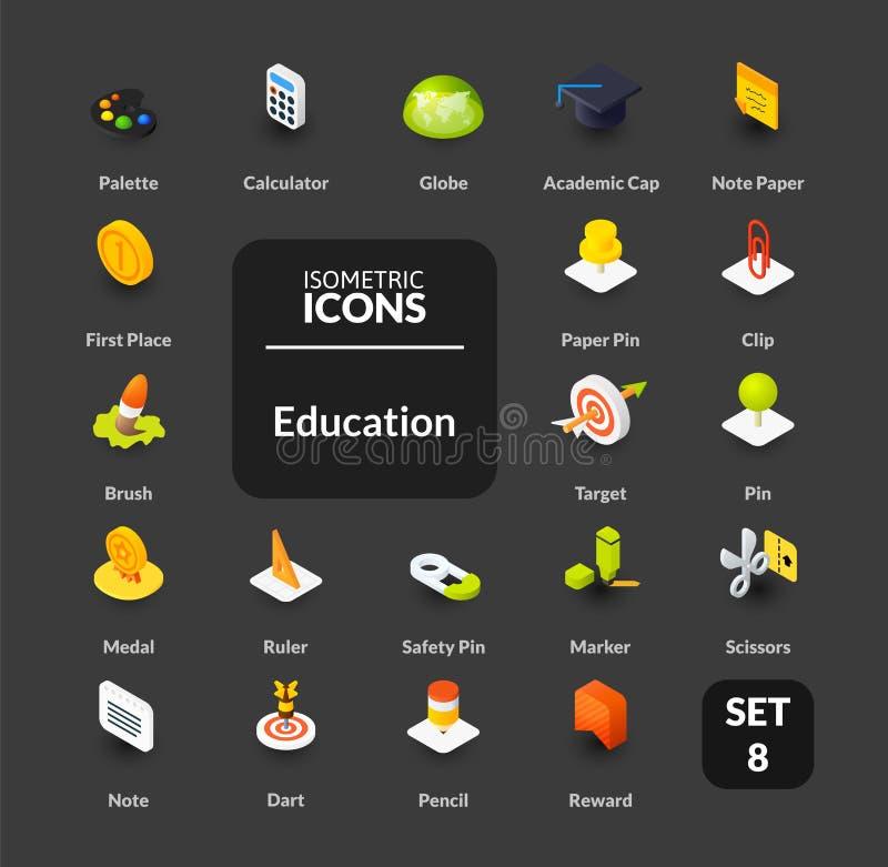 Le icone di colore hanno messo nello stile isometrico piano dell'illustrazione, raccolta di vettore illustrazione di stock