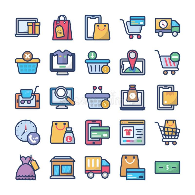 Le icone di commercio e di acquisto impacchettano royalty illustrazione gratis
