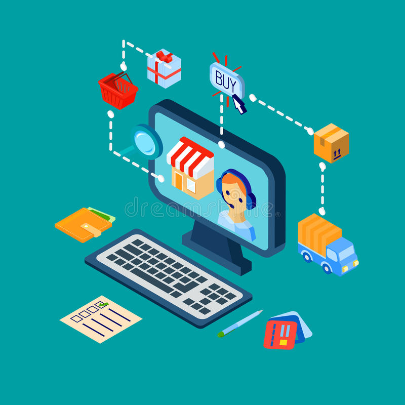 Le icone di commercio elettronico di acquisto hanno messo isometrico royalty illustrazione gratis