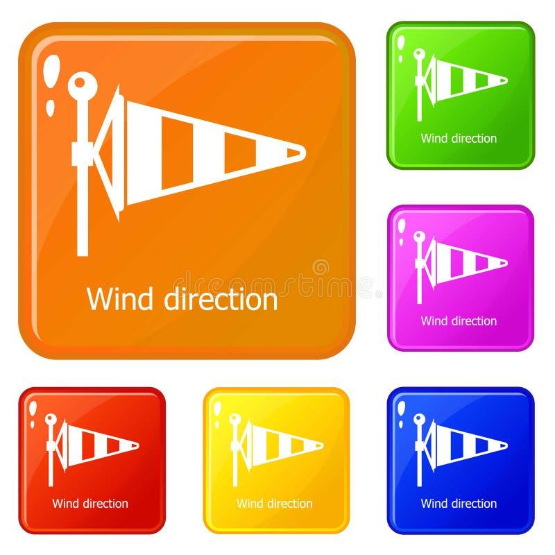 Le icone di direzione del vento hanno fissato il colore di vettore royalty illustrazione gratis