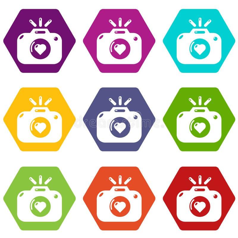 Le icone di fotografia di nozze hanno fissato il vettore 9 illustrazione di stock