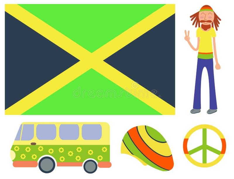 Le icone di ganja di pace della cannabis di Rastafarian hanno messo nell'illustrazione di fumo di vettore dell'attrezzatura della illustrazione di stock