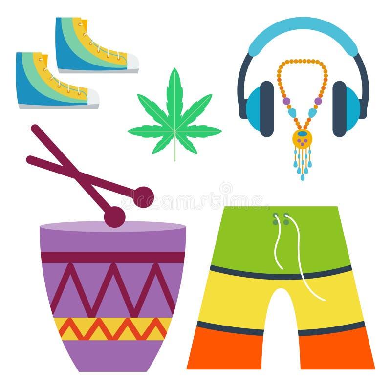 Le icone di ganja di pace della cannabis di Rastafarian hanno messo nell'illustrazione di fumo di vettore dell'attrezzatura della royalty illustrazione gratis