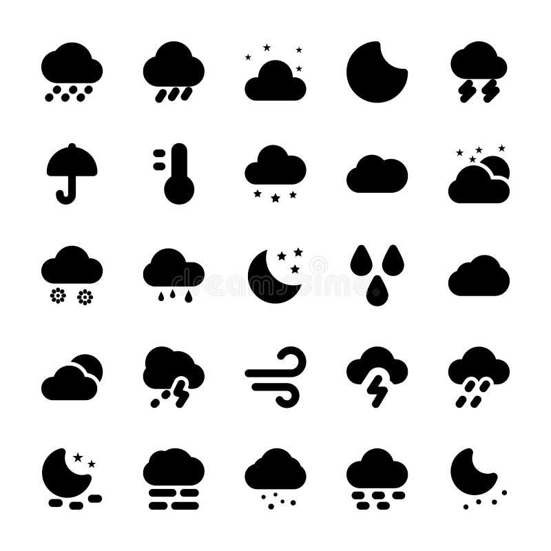 Le icone di glifo del tempo hanno messo 1 illustrazione vettoriale