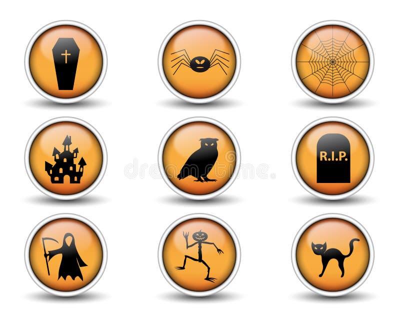 Le icone di Halloween e dei bottoni hanno messo 02 illustrazione di stock