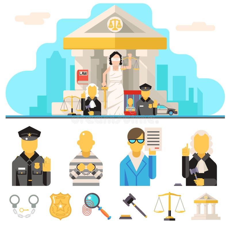 Le icone di legge del tribunale hanno messo la giustizia Symbol Concept sopra illustrazione di stock