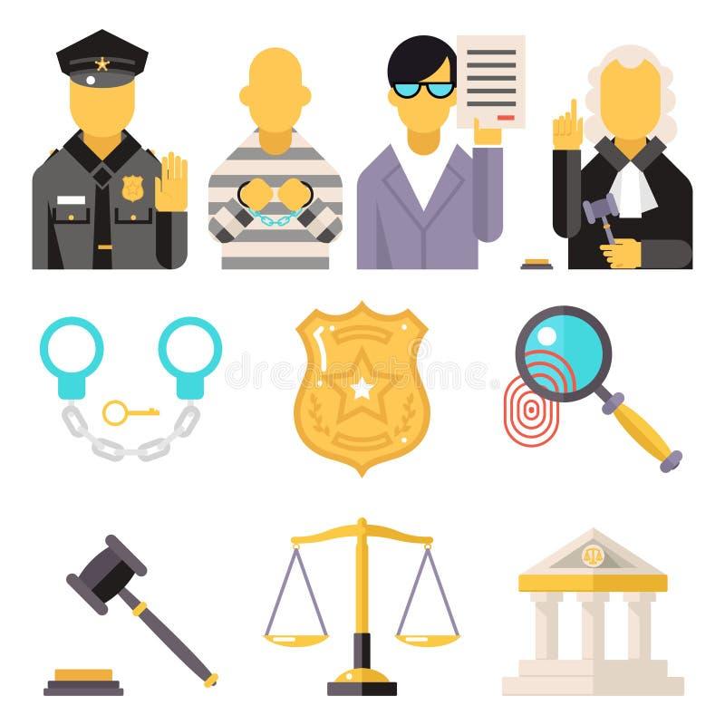 Le icone di legge del tribunale hanno messo la giustizia Symbol Concept sopra illustrazione vettoriale